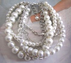 Pearl and Rhinestone Bridal Bracelet Chunky Statement Wedding #fashion #wedding #jewelry #style