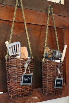 country kitchen tools in basket