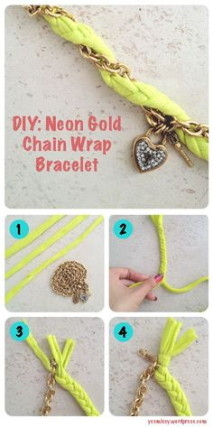 DIY: Easy twist bracelet. Made from and old t shirt and upcycled necklace.