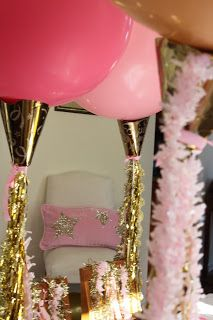 Pink and Gold Party balloons w gold ribbon