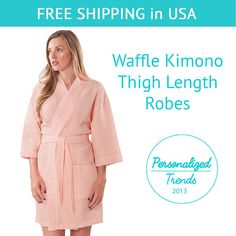 This elegant kimono styled spa robe is designed to provide the utmost in cozy comfort and style. The light and soft waffle spa robe adds a light layer over nightwear. The personalized robes make for a quality gift that your bridesmaids will enjoy well after your wedding day!  Please follow the 6 steps to complete your order:  1. Select your robe color and size (For robe colors check the pictures in the listing, for sizing please see below Sizing Chart)  2. Select your embroidery thread…