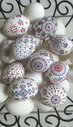 Red white and blue pin drop eggs