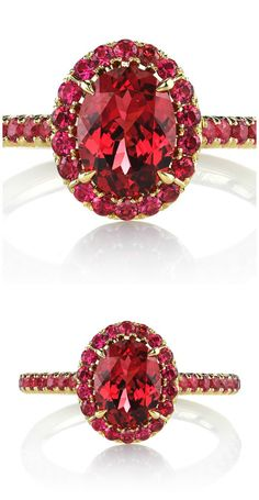 The Omi Prive Dore'ring featuring a carat oval red spinel surrounded by carats of round red spinels in yellow gold. Fashion Rings, Fashion Jewelry, Women's Fashion, Red Spinel, Thing 1, Ruby Gemstone, Gemstone Jewelry, Blue Sapphire Rings, Gem S