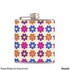 Retro Penny Flowers Hip Flask