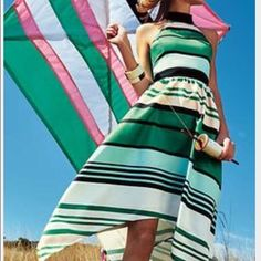 Anthropologie Candymint Green Striped Dress Amazing halter dress from Anthropologie in a Size 6. Only worn once to a wedding. This halter dress with an asymmetrical hemline is a total stunner! Anthropologie Dresses Midi