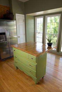 Dresser to Kitchen Island — Suzanne Schaefer Dresser Kitchen Island, Diy Kitchen Island, Kitchen Redo, Kitchen Design, Kitchen Stuff, Kitchen Remodel, Furniture Makeover, Diy Furniture, Restoring Furniture