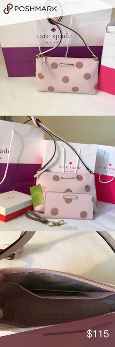 """PRICE⬇️ BN AUTH. kate♠️spade CROSS BODY BAG BNWT AUTHENTIC KATE SPADE RAMEY CROSSBODY BAG. Pale Pink Leather with Rose Gold glitter polkadots. Hangs 22"""" from shoulder and has a nice roomy inside with one big slip pocket. Plenty of room for your essentials and a fun night out. Made with 14kt. gold plated hardware. Approx. Meas. 9,75""""Lx6.25""""Hx2""""W. Room enough for the wallet I have listed with the same design. BNWT (Lanyard not included but in a sep. listing) The matching Stacy bifold wallet…"""