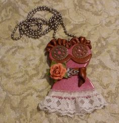 Pink Steampunk Corset Necklace  S151 by artsdaughter on Etsy #steampunk #jewelry #corset