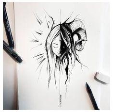 Demon Drawings, Creepy Drawings, Dark Art Drawings, Creepy Art, Pencil Art Drawings, Art Drawings Sketches, Cool Drawings, Angel Sketch, Angel Drawing