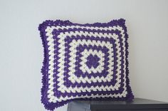 15 x 15  Purple and cream  pillow cover  crochet by NesrinArt, $22.00