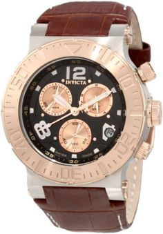 Men's Wrist Watches - Invicta Mens 1852 Reserve Chronograph Black Dial Brown Leather Watch >>> Check this awesome product by going to the link at the image. (This is an Amazon affiliate link)