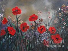 @fineartamerica #quality #giclee #print #painting #poppy #red #pretty #art