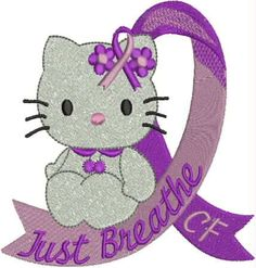 Hello Kitty Cystic Fibrosis Ribbon by DrusDesigns on Etsy, $5.00 - May is Cystic Fibrosis Awareness Month. Go to http://healthaware.org/category/5-may/ for link to more information.