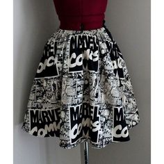 Marvel Comics, Womens Skirts, Comic Book Skirts, Vintage Marvel,... ❤ liked on Polyvore featuring skirts, comic print skirt, patterned skirt, cotton skirt, cotton stretch skirt and marvel comics skirt