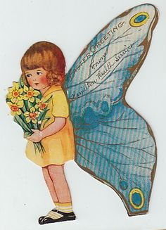 5 BUTTERFLY butterflies VALENTINE Greeting Cards 1920-50's Vintage