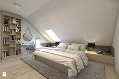 (Dom w okolicy Lublińca) Dom jednorodzinny 7 - Średnia sypialnia małżeńska na poddaszu, styl nowoczesny - zdjęcie od BAGUA Pracownia Architektury Wnętrz