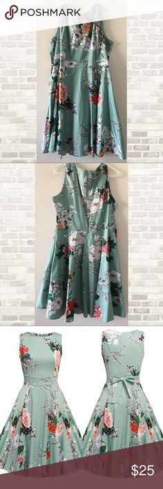 """💐Floral swing dress - like new! This dress is a mint color with hidden zip closure in the back. Spring garden picnic dress.   Approx measurements: Bust 42.9"""", waist 36.7"""", length 40.6""""  The material is a nice weight, not see through. It is not lined but I didn't find an issue with that.  I love this dress and the pattern, please note my dress pattern is slightly different from manufacturer dress. My pattern is prettier! The built in waist tie is great! Can tie it in front or back of dress…"""