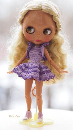 #Blythe #Fashion #Clothing for #Pullip, #Azonepurneemo #petsLair Blythe fashion cotton dress, crochet, fashion dress lilac dress and bolero for summer, for little doll Blythe, for Pullip, Azone pure neemo
