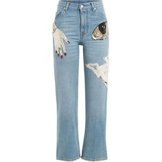 Alexander McQueen Embellished Cropped Jeans (21.245 ARS) ❤ liked on Polyvore featuring jeans, pants, bottoms, blue, alexander mcqueen jeans, alexander mcqueen, cropped jeans, blue jeans and embellish jeans