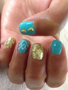 Nail art with gold glitter