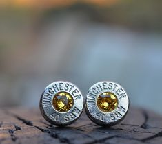 Bullet Earrings stud or post, nickel silver Winchester .40 S&W with Swarovski Citrine November birthstones