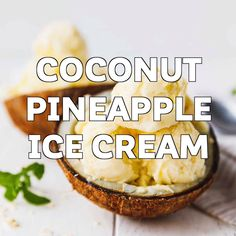 Make the best two Ingredient Pineapple Coconut Ice Cream with just canned coconut milk and frozen pineapple chunks. No extra sugar added, ready in 5 minutes for soft serve ice cream or you can freeze it if you'd like it hard. #icecream #coconut #pineapple