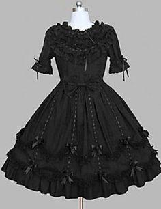 One-Piece/Dress Gothic Lolita Rococo Princess Cosplay Lolita Dress Black Lace Vintage Cap Short Sleeve Knee-length Dress For Cotton Blend – USD $ 138.29
