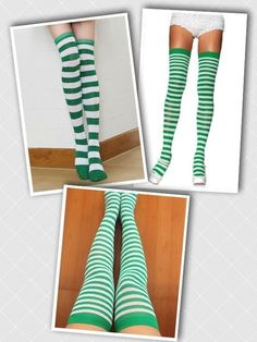 Green and White Stripes Thigh Highs Over the Knee Socks Striped St Patricks Day #LegAvenue #OvertheKnee