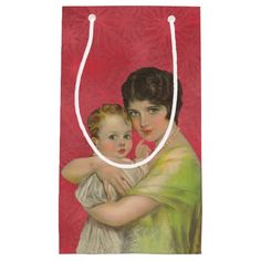 Vintage 1930's Mother Holding Baby Mother's Day Small Gift Bag