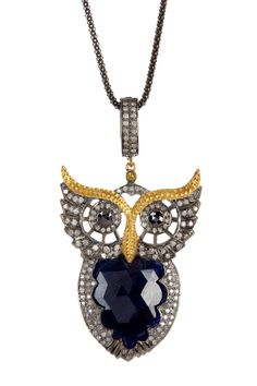 Pave Diamond & Sapphire Owl Pendant Necklace