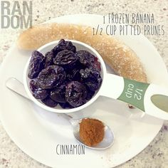 """""""NOTHING LEFT IN YOUR FRIDGE"""" SMOOTHIE 1 frozen banana / 1/2 cup pitted prunes / cinnamon to taste / 1 glass of water #smoothie #nutrition @C N #cleaneating #healthy"""