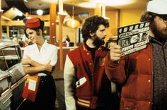 """George Lucas directing on the set of """"American Graffiti"""" (1972)"""