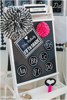 Black and white classroom with a hint of hot pink...super cute!