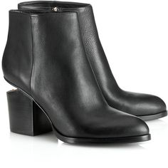 Alexander Wang Black Leather Gabi Ankle Boots ($725) ❤ liked on Polyvore featuring shoes, boots, ankle booties, botas, ankle boots, black leather bootie, high heel ankle boots, black ankle booties and black leather ankle booties