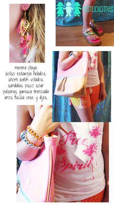 muscu playa + short batik + pulseras cadena trenzada + aros flecos y cruces + bolso helados c/ cuero + sandalias pisco.