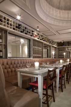 Bill's Holborn - Join Us for Breakfast, Lunch & Dinner Wine Vault, Wrought Iron Staircase, Banisters, Atrium, Display Shelves, Great View, Wood Paneling, Restoration, Dining Table