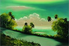 Florida Highwaymen painting byAlfred Hair done in the traditional style of the Highwaymen painting the Florida scenery on  on Upson board