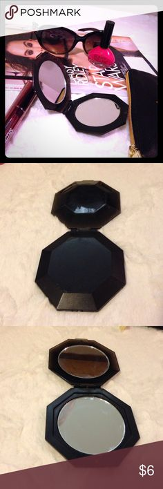 Black Double Mirror Compact Black faceted compact. Double mirrors (normal and magnified).    ▪REASONABLE OFFERS WELCOMED or BUNDLE FOR A SPECIAL DISCOUNT ▪️  Tags: Compact, Mirror, travel, to go, makeup, cosmetic, touch up Accessories