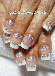 White french tip with crystals nailart #nailart #nails #white #crystals #frenchtip