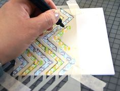 By Sanna Lippert. Lay stencil on card. Stamp through the openings in the stencil. Outline the edges of the stencil with a fine tip pen. Great idea!