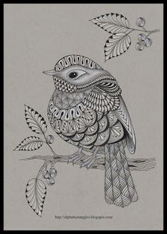 submission @CreateMixedMedia by C Langsdorf my bird using template by Ben Kwok.#doodle #zentangle #zendoodle