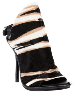Black leather sandal heel from Balenciaga featuring an open toe, a contrasting brown and white zebra print front panel, a belt buckle fastening to the rear and a leather stiletto heel. Balenciaga Womens, Balenciaga Shoes, Cute Shoes, Me Too Shoes, Bootie Boots, Shoe Boots, All About Shoes, Designer Sandals, Hot Heels