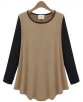 Camel Contrast Long Sleeve Ruffle Loose T-Shirt