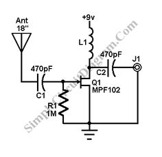 This AM/FM antenna booster circuit amplify the broadband signal from antenna. This antenna booster should work fro FM, AM, and SW receivers. Diy Tv Antenna, Ham Radio Antenna, Electronic Circuit Projects, Electronic Engineering, Electronics Components, Electronics Projects, Radios, Radio Amateur, Circuit Diagram