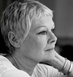 Dame Judi Dench  ageless beauty...and not afraid to show the gray or the wrinkles.