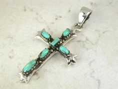Sterling Silver TURQUOISE Cross Pendant on by CherishedSaints, $24.00