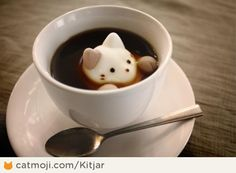Latte cat - Coffee plus  cat-shaped marshmallow! Have anyone seen these marshmallow sold outside Japan?