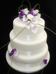 Simple 3 Tier Wedding Cakes   Tier Calla Lilly & Roses Wedding Cake   Cake Gallery   Cake Crafts