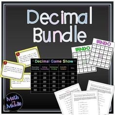 Big bundle of decimal activities - includes 3 games, 1 set of task cards, and 15 differentiated self-checking worksheets on all operations with decimals!! $13