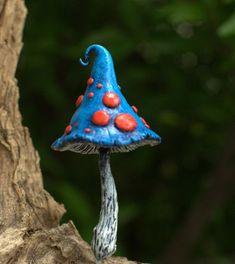 Red blue fairy garden fantasy mushroom polymer clay by Petradi www.etsy.com